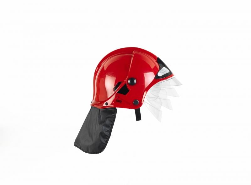 Klein 8901 Hełm strażacki czerwony MSA z opuszczaną szybką