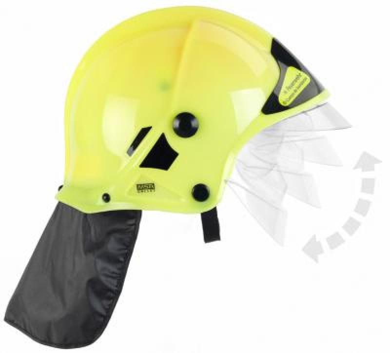Klein 8903 Hełm strażacki neonowy MSA z opuszczaną szybką